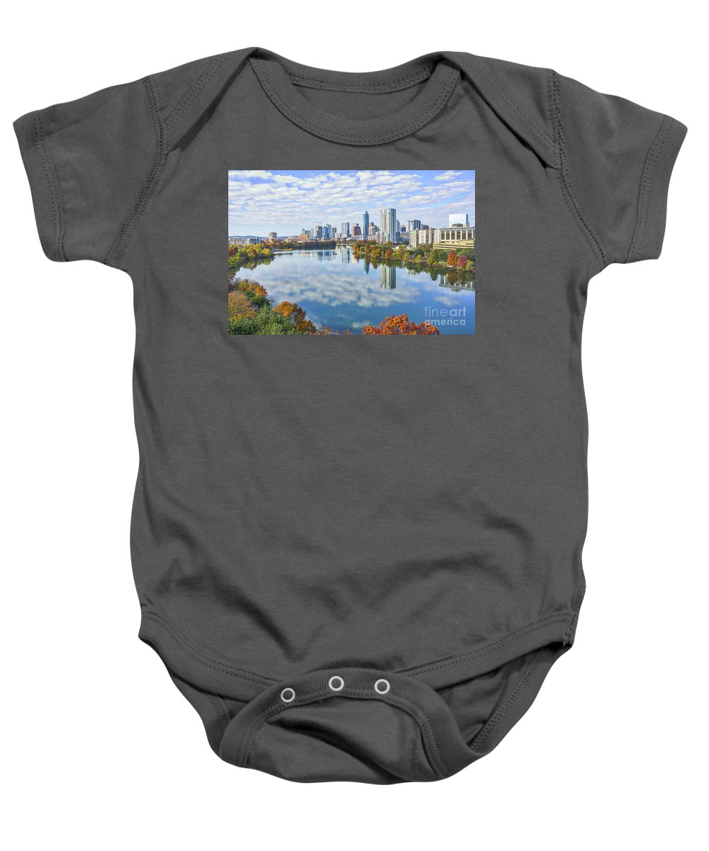 Austin Skyline Baby Onesie featuring the photograph Fall Austin Skyline by Tod and Cynthia Grubbs