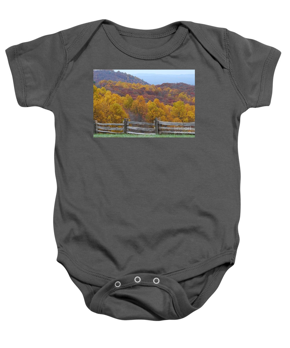 Fence Baby Onesie featuring the photograph Fall Blend by Eric Liller