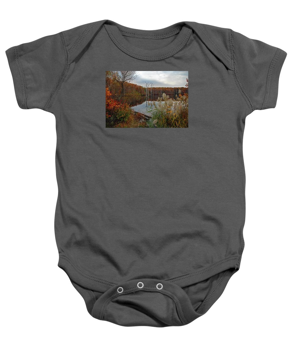 Bradley Baby Onesie featuring the photograph Fall Colors At The Reservoir by Rich Despins