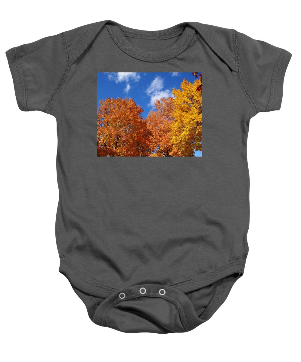 Nature Baby Onesie featuring the photograph Fall Colors In Spokane by Ben Upham III