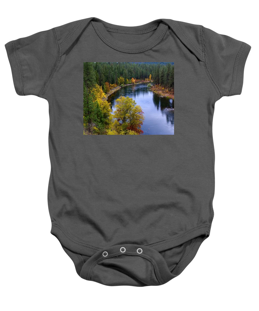 Nature Baby Onesie featuring the photograph Fall Colors On The River by Ben Upham III