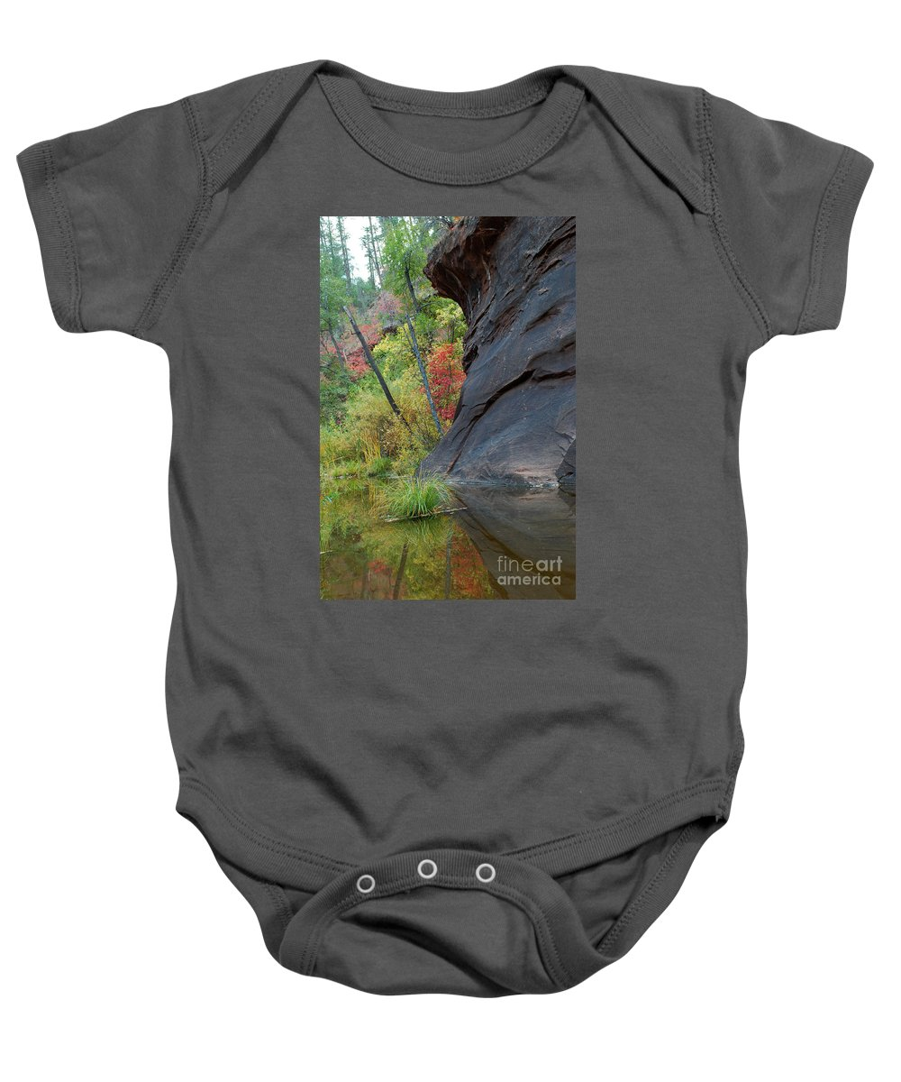 Landscape Baby Onesie featuring the photograph Fall Colors Peek Around Mountain Vertical by Heather Kirk