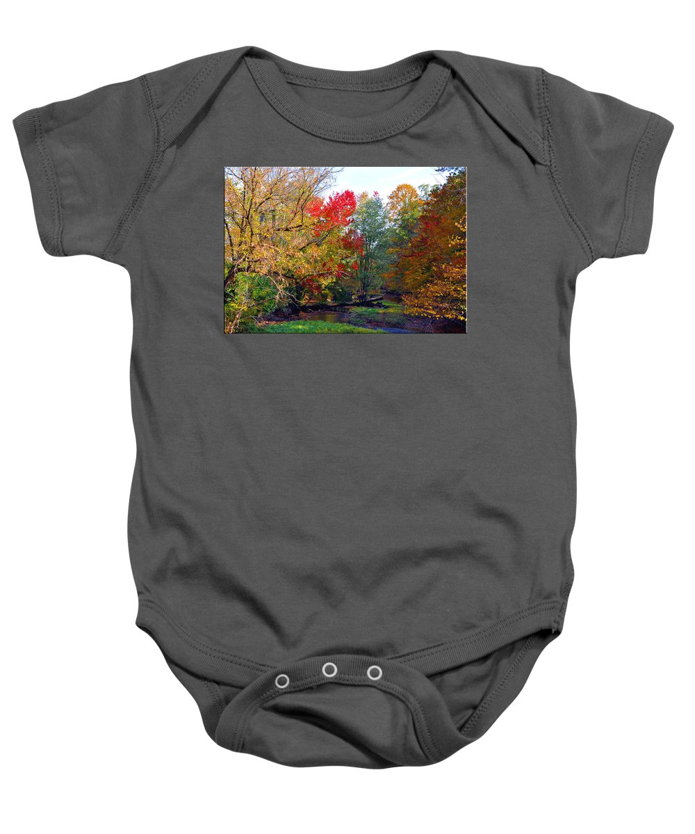 Autumn Reflections Baby Onesie featuring the photograph Fall Creek by Brittany Horton