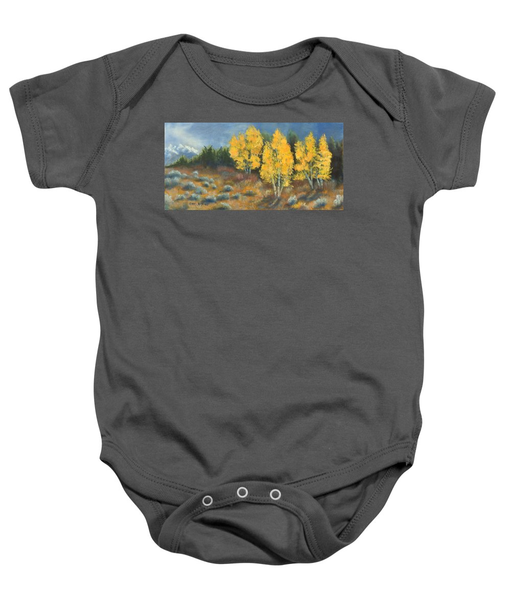 Landscape Baby Onesie featuring the painting Fall Delight by Jerry McElroy
