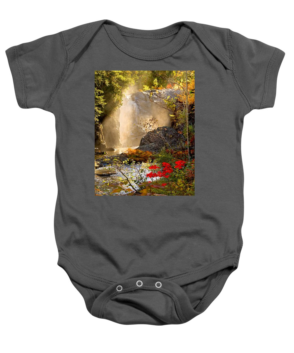 Fall Baby Onesie featuring the photograph Fall Falls Mist Dead River Falls Marquette Mi by Michael Bessler