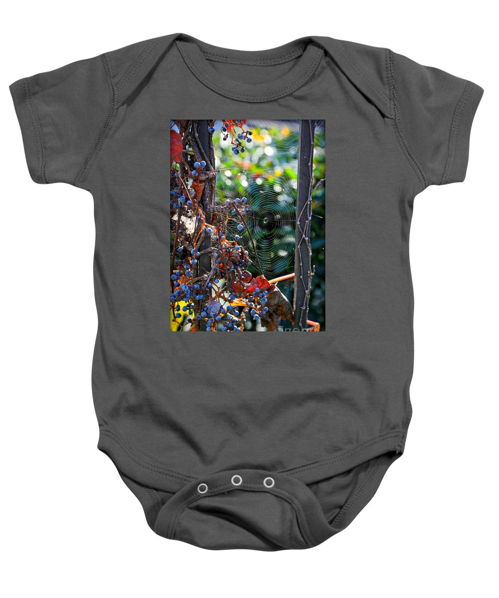Fall Grapes Baby Onesie featuring the photograph Fall Grapes with Spider Web by Carol Groenen