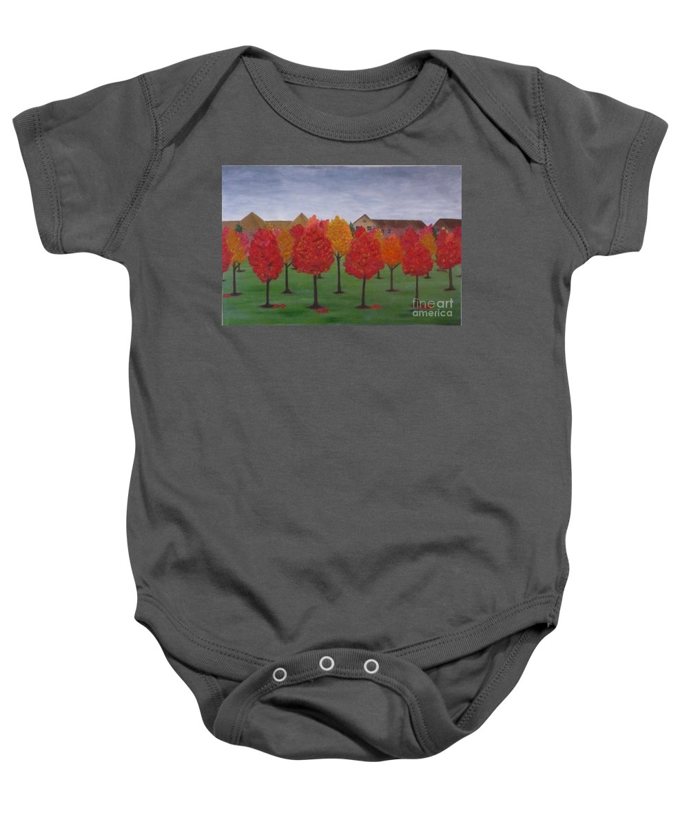 Fall Baby Onesie featuring the painting Fall In Markham by Monika Shepherdson