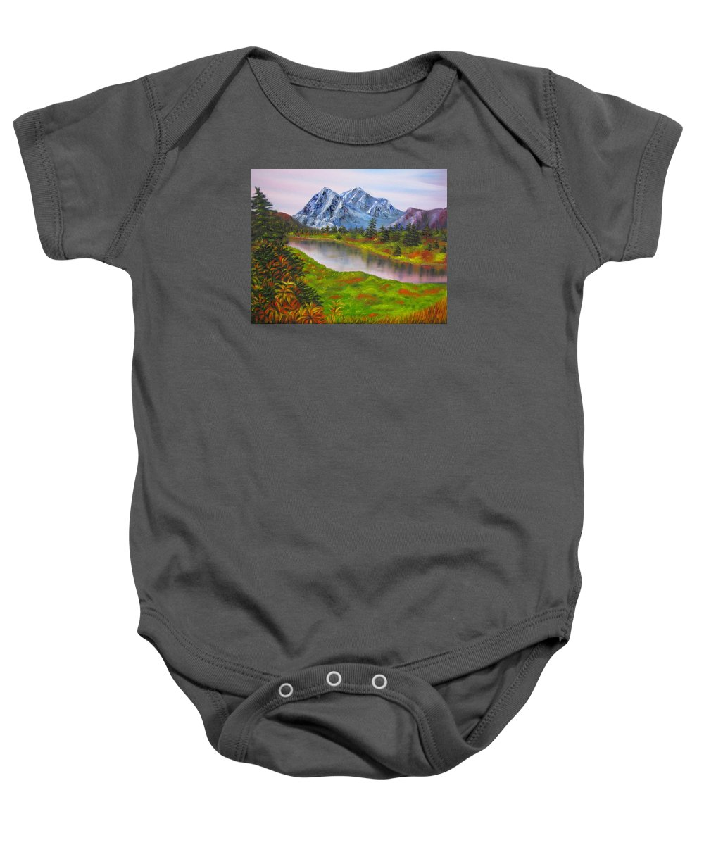 Fall Baby Onesie featuring the painting Fall In Mountains Landscape Oil Painting by Natalja Picugina