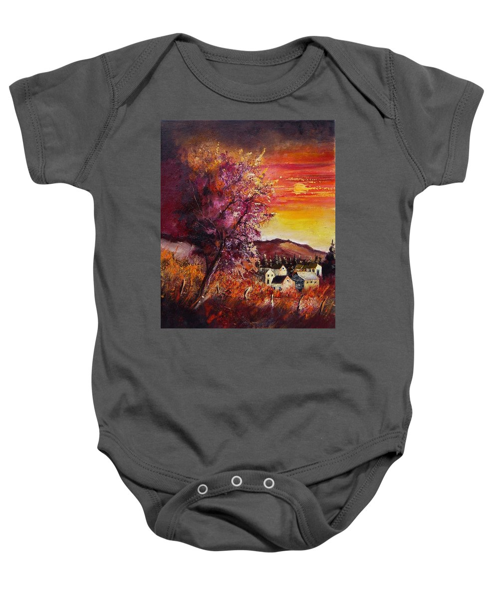 Autumn Baby Onesie featuring the painting Fall In Villers by Pol Ledent