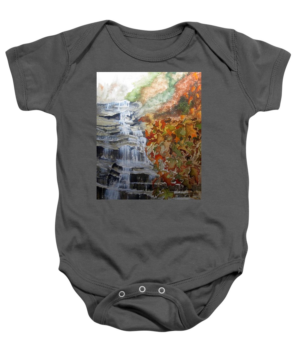 Water Fall Baby Onesie featuring the painting Fall Leaves by Julia Rietz