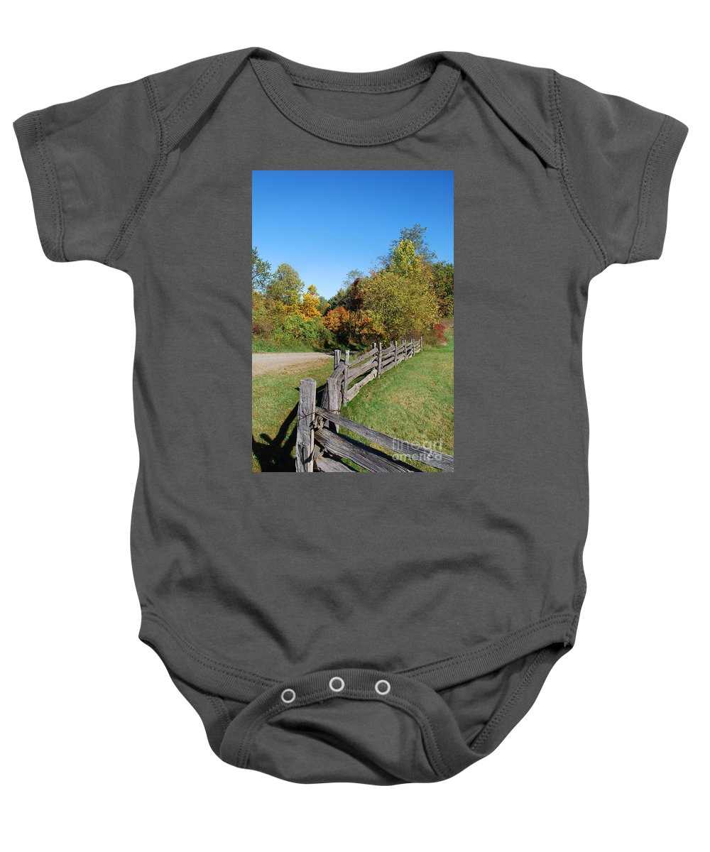 Scenic Tours Baby Onesie featuring the photograph Fall On The Farm by Skip Willits