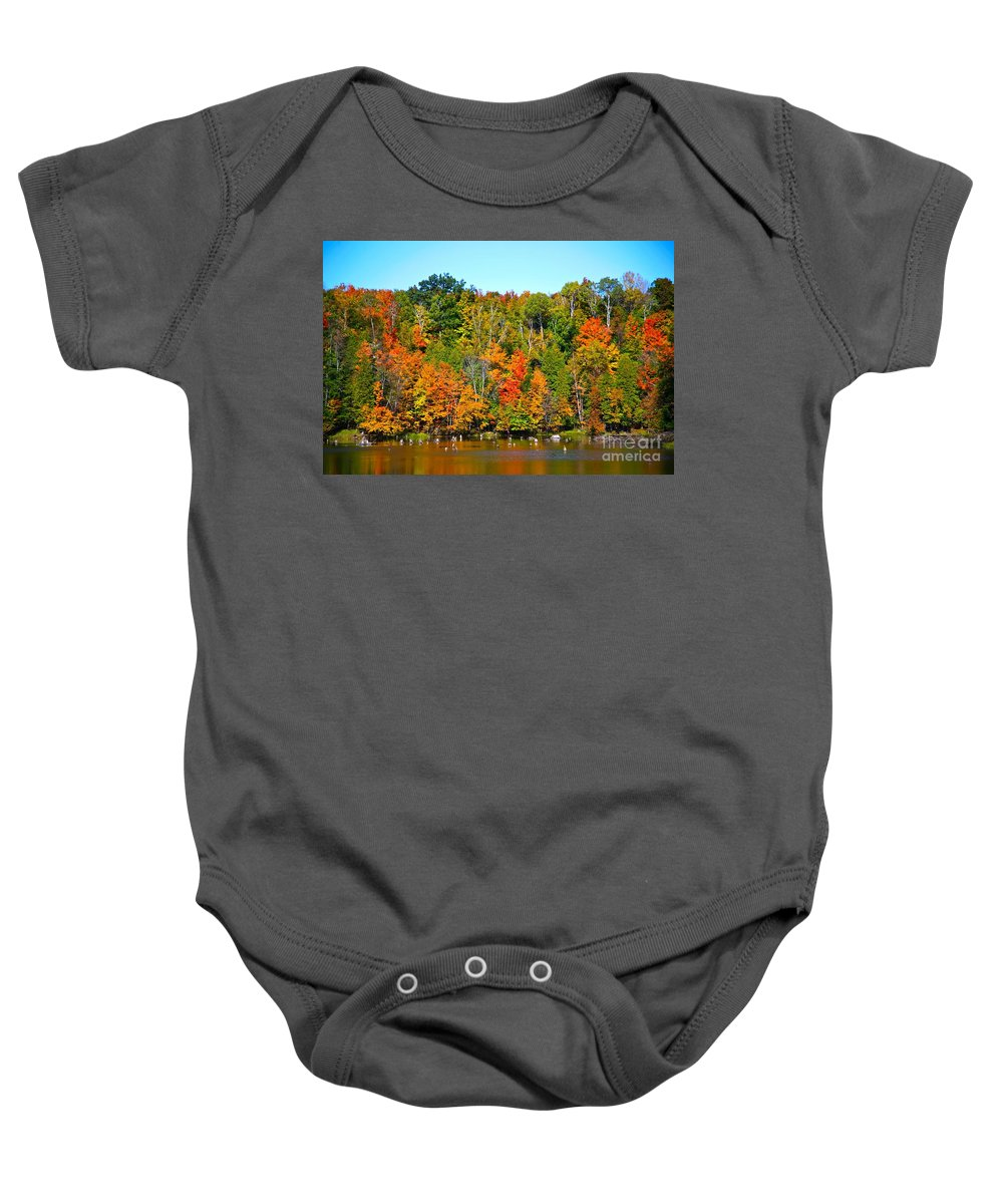 Fall Baby Onesie featuring the photograph Fall On The Water by Robert Pearson