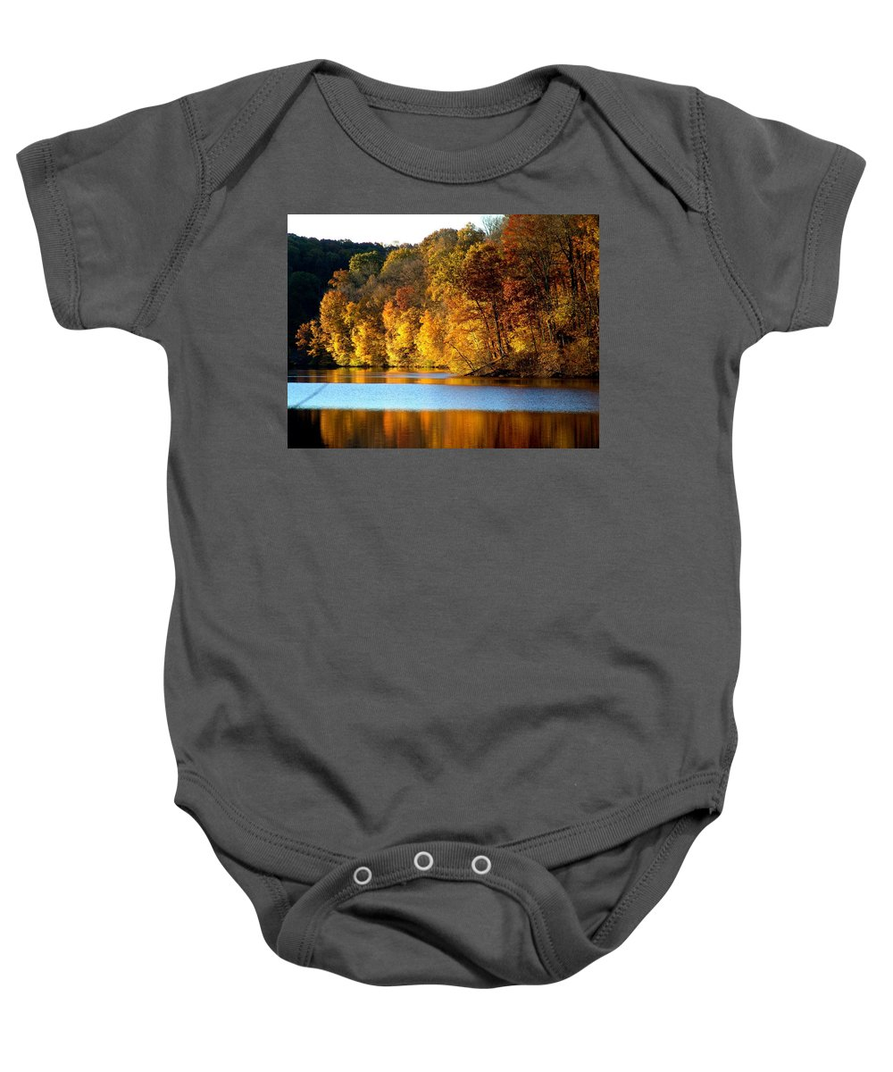 Trees Baby Onesie featuring the photograph Fall Reflections Of Indiana by Carol Milisen