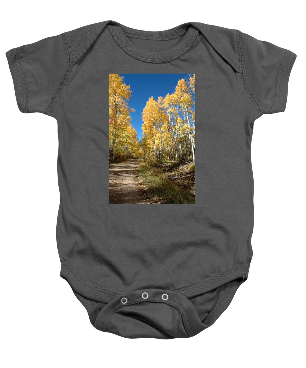 Landscape Baby Onesie featuring the photograph Fall Road by Jerry McElroy