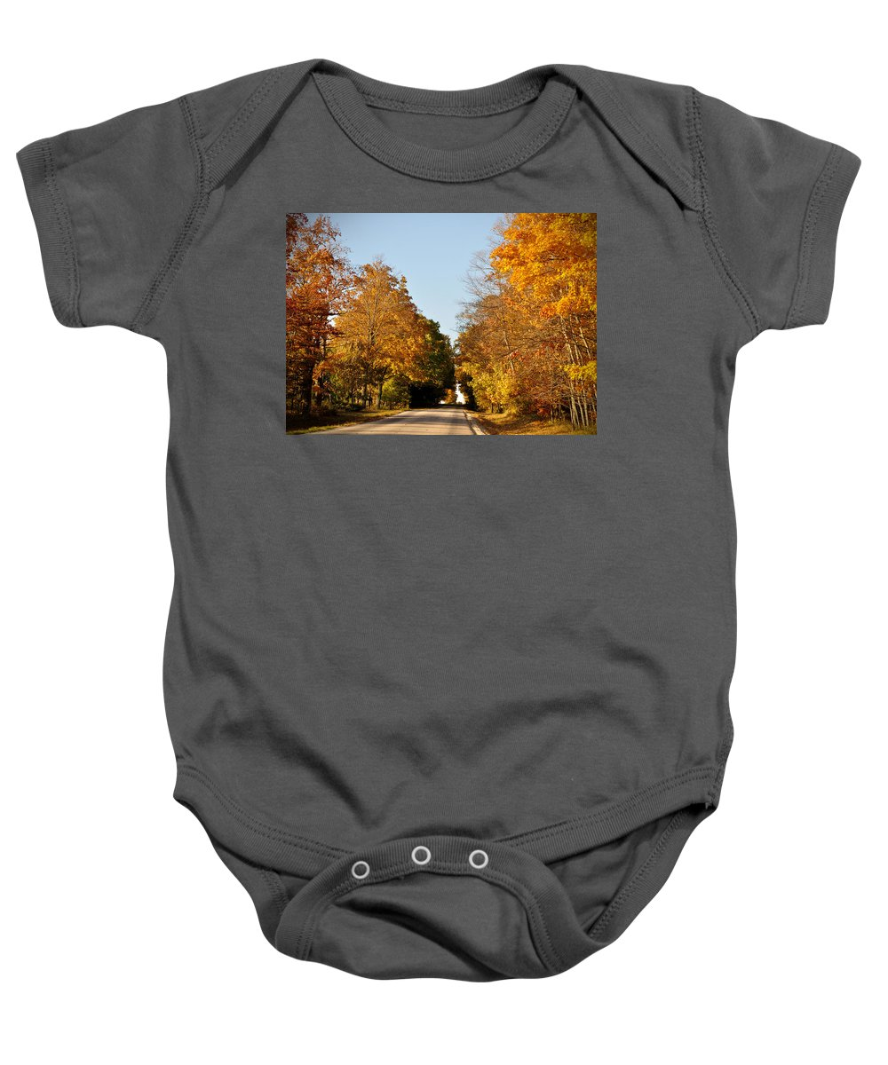 Fall Baby Onesie featuring the photograph Fall Road by Tim Nyberg
