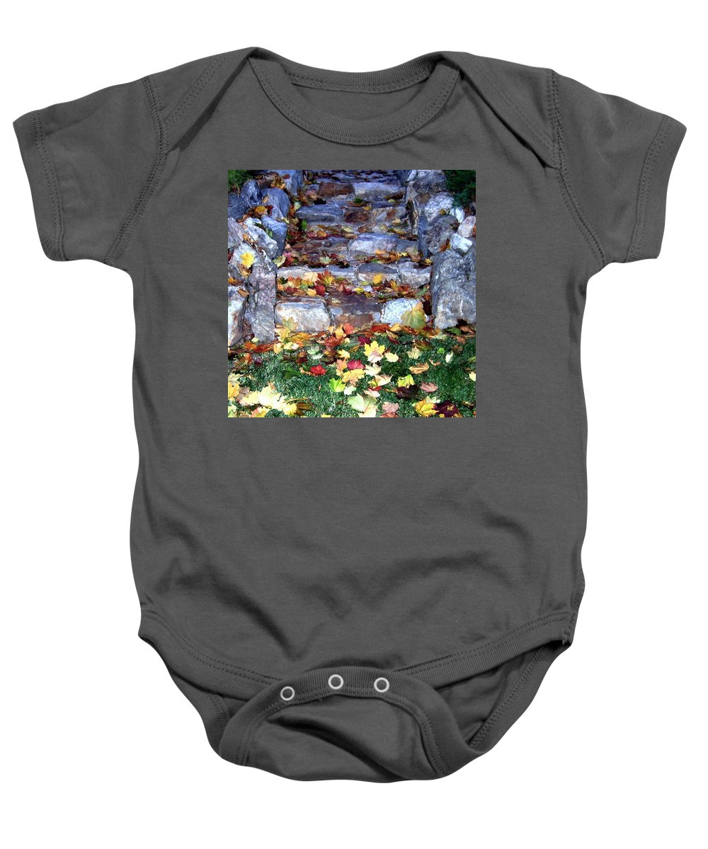 Rock Stairway Baby Onesie featuring the photograph Fall Stairway by Will Borden
