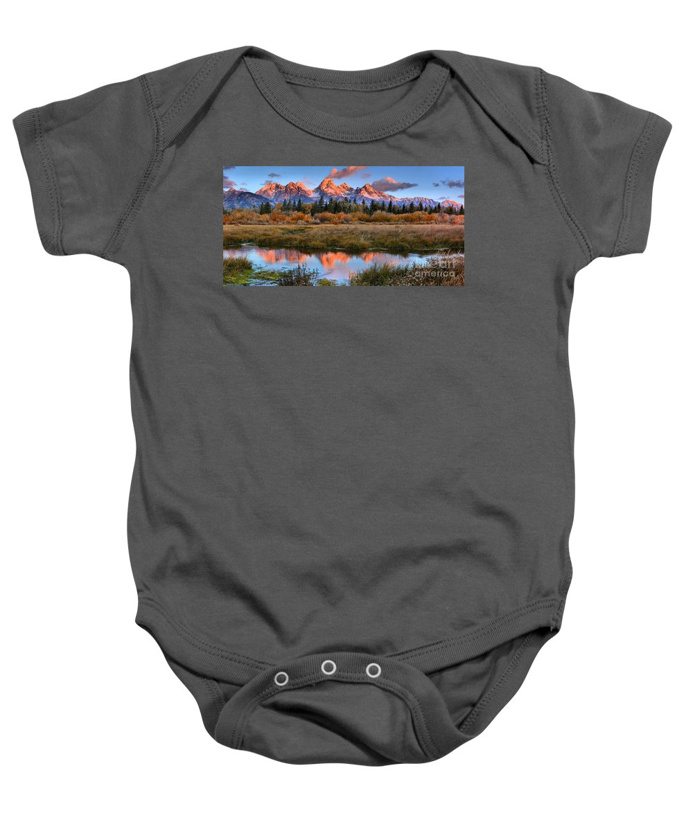 Teton Sunrise Baby Onesie featuring the photograph Fall Teton Tip Reflections by Adam Jewell