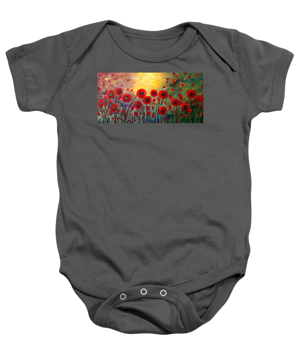 Flowers Baby Onesie featuring the painting Fall Time Poppies by Luiza Vizoli