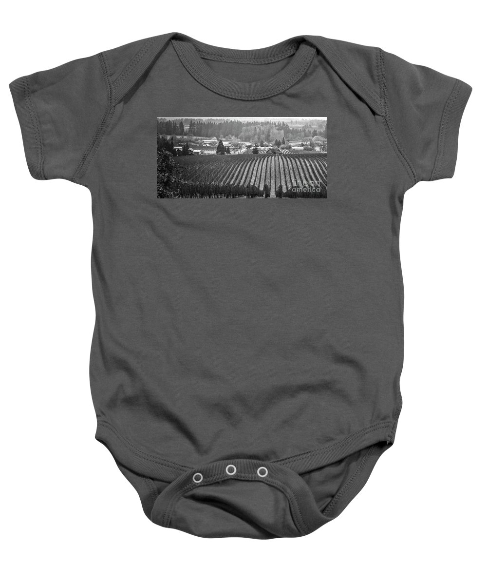 Vineyard Baby Onesie featuring the photograph Vineyard In Black And White by Bruce Block