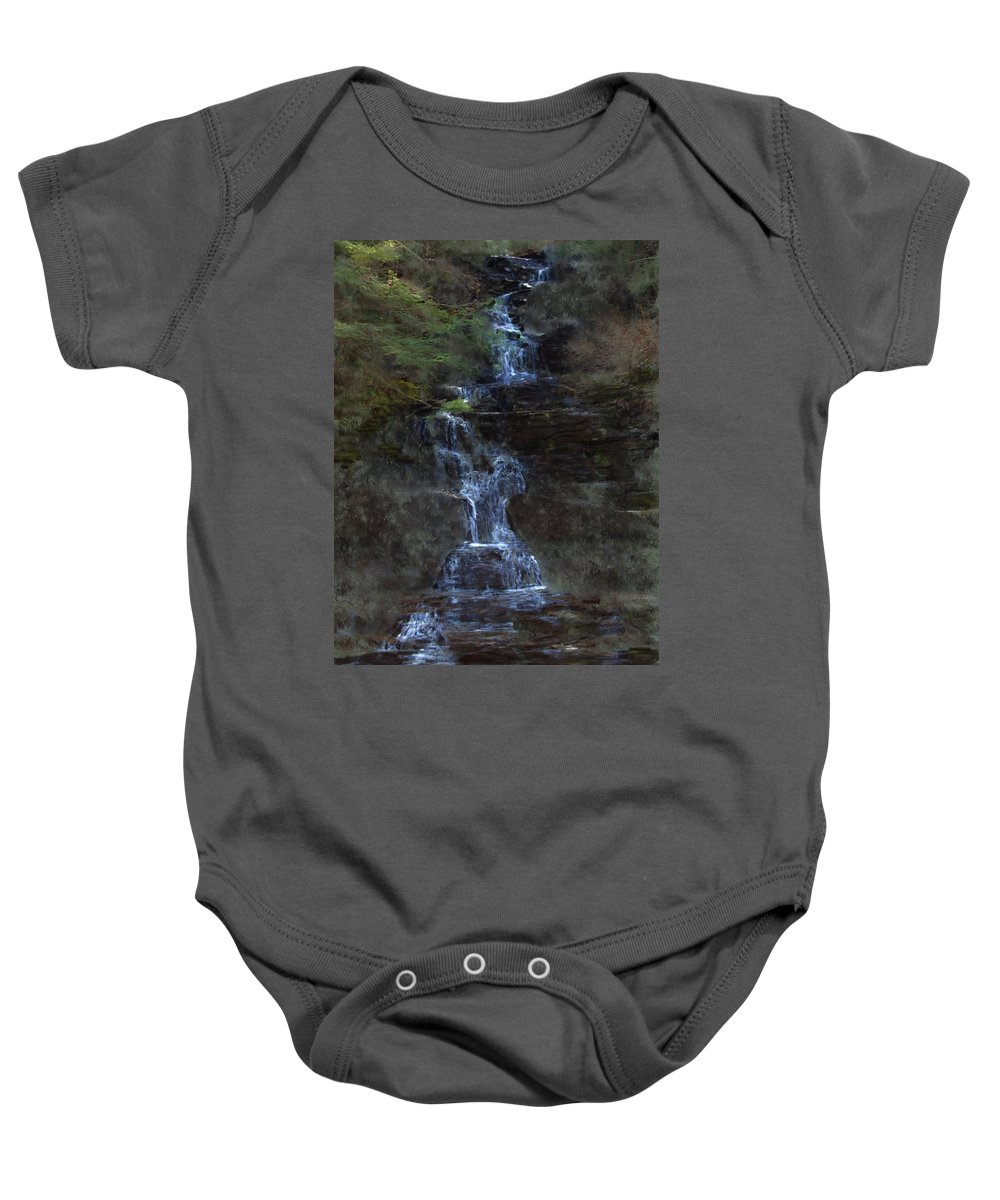 Baby Onesie featuring the photograph Falls At 6 Mile Creek Ithaca N.y. by David Lane