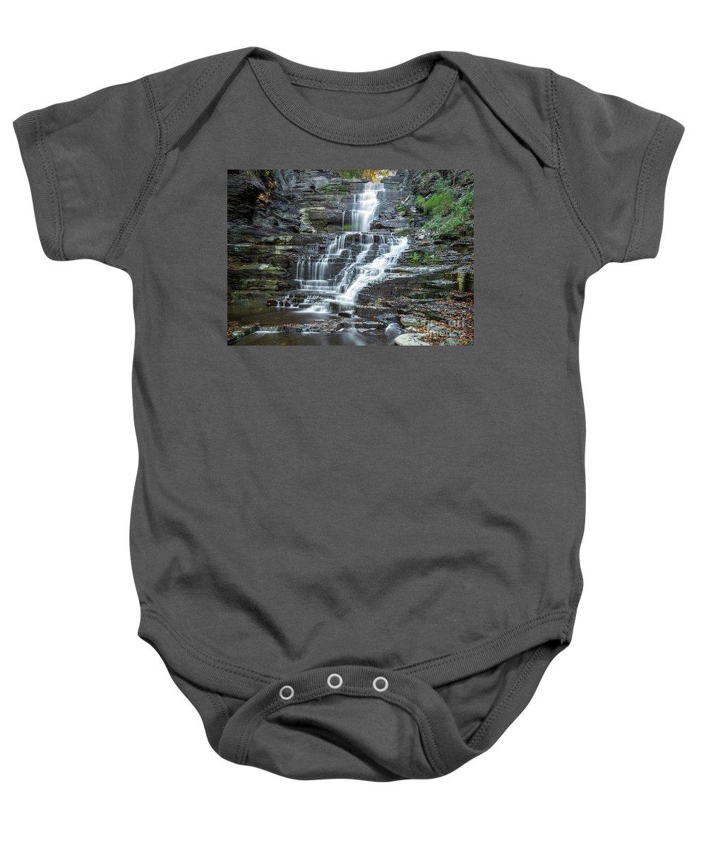 New York Baby Onesie featuring the photograph Falls Creek Gorge Trail Ithaca New York by Karen Jorstad