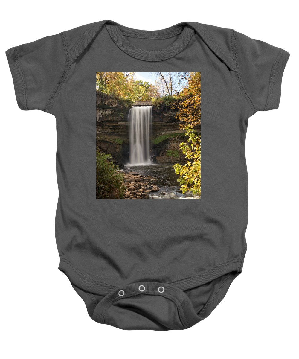 Minnehaha Falls Baby Onesie featuring the photograph Falls In The Fall by Karl Schroeder