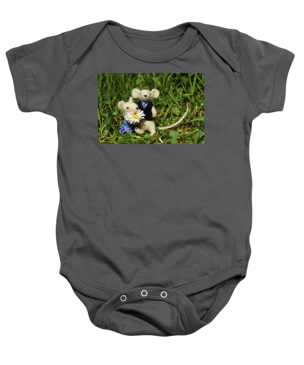 Decoration Baby Onesie featuring the photograph Family Mouse On The Spring Meadow .1. by Heike Hultsch