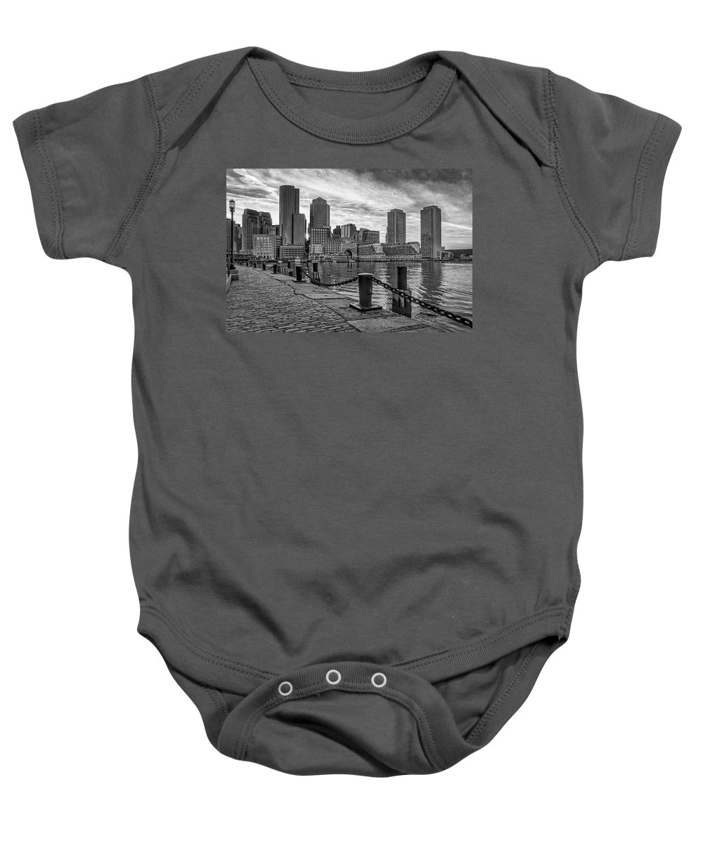 Boston Baby Onesie featuring the photograph Fan Pier Boston Harbor Bw by Susan Candelario
