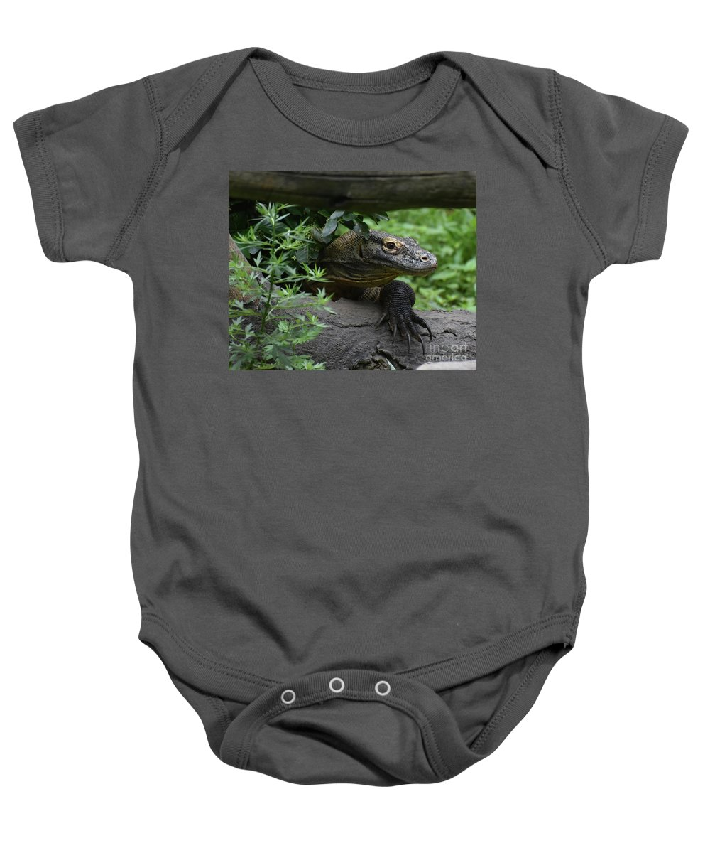 Komodo-dragon Baby Onesie featuring the photograph Fantastic Close-up Look At A Komodo Monitor by DejaVu Designs