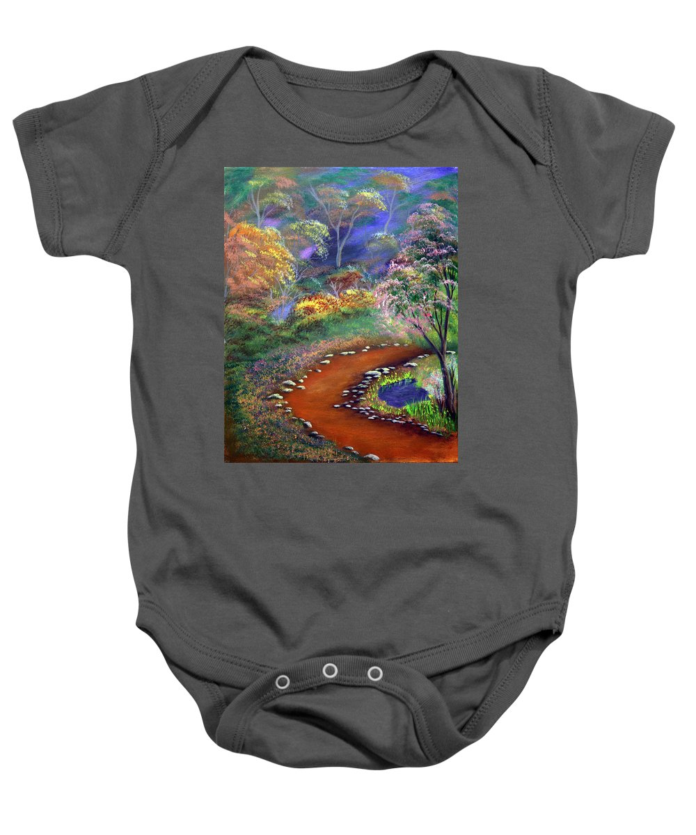 Dawn Blair Baby Onesie featuring the painting Fantasy Path by Dawn Blair