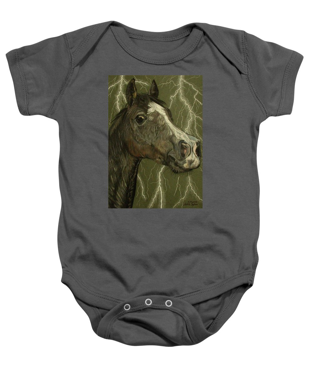 Horse Baby Onesie featuring the drawing Fantasy Xanthus by Melita Safran