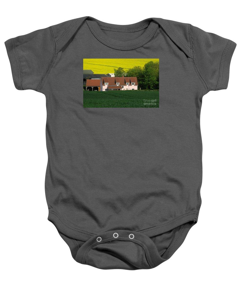 Farm Baby Onesie featuring the photograph Farm Fields by Ann Horn