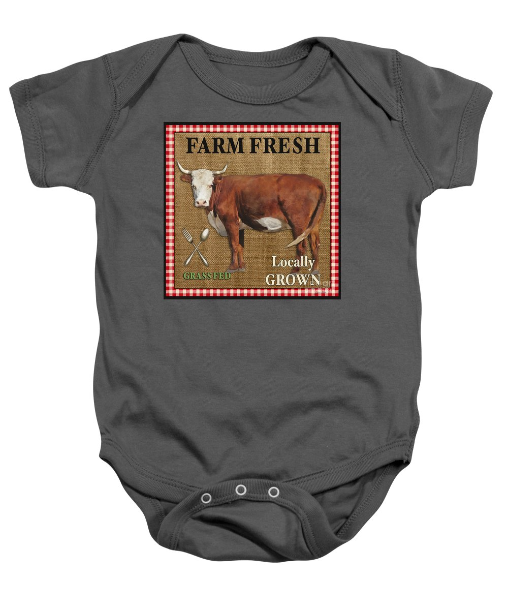 Burlap Baby Onesie featuring the painting Farm Fresh-jp2383 by Jean Plout