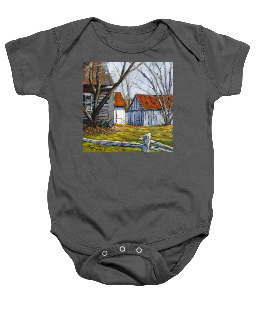 Farm Baby Onesie featuring the painting Farm In Berthierville by Richard T Pranke