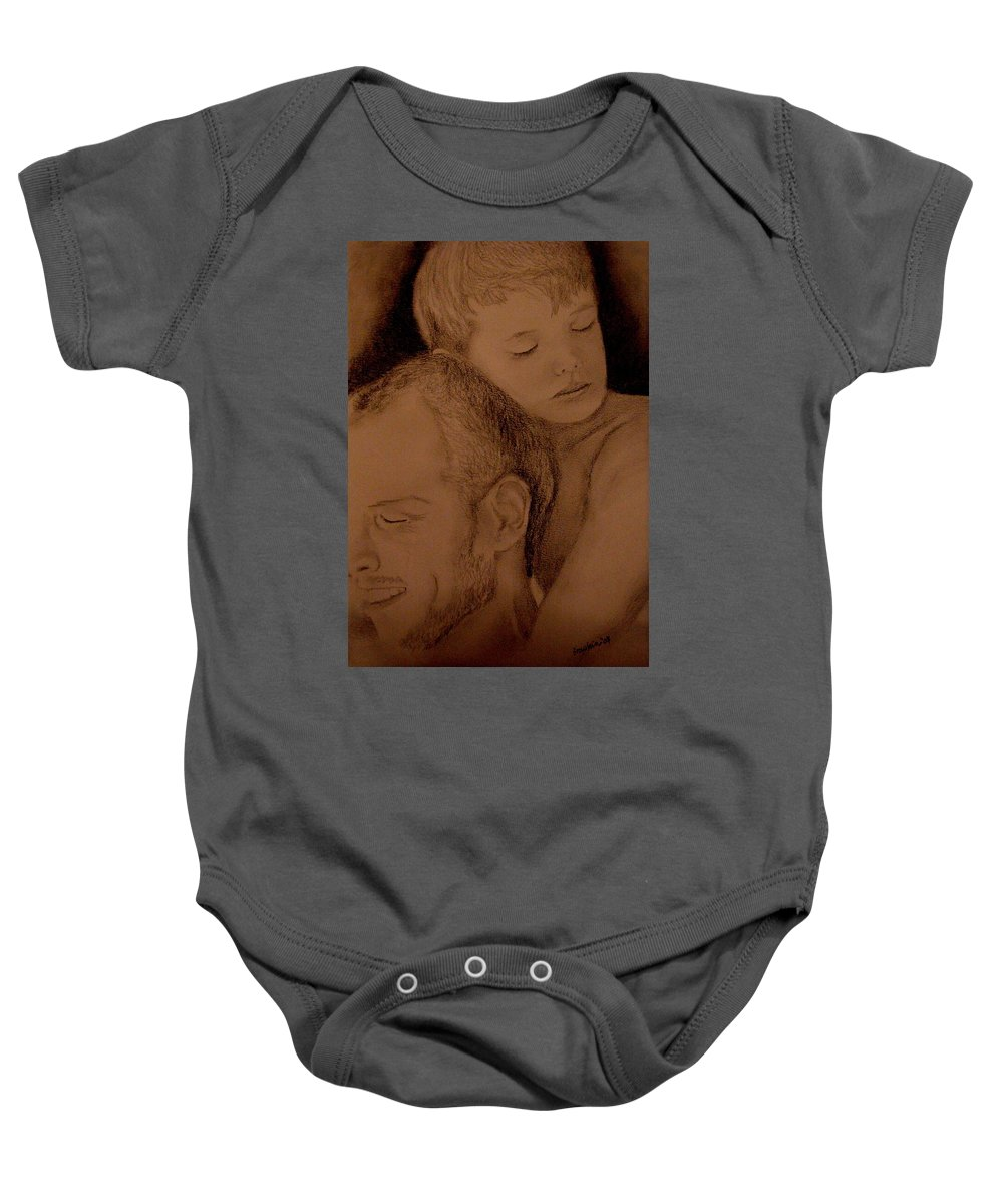 Portrait Baby Onesie featuring the painting Father And Son by Glory Fraulein Wolfe