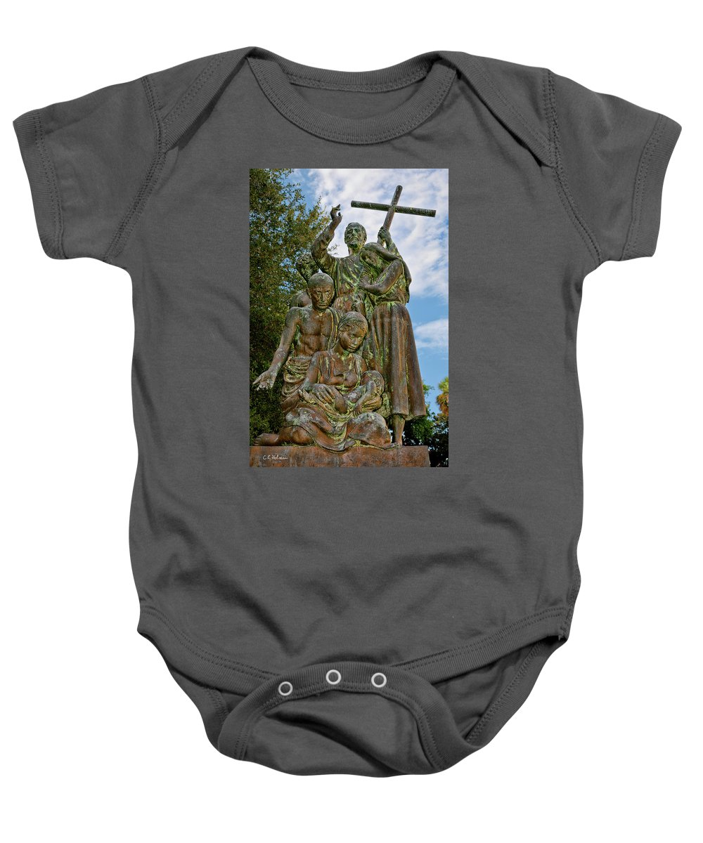 Statue Baby Onesie featuring the photograph Father Pedro Camps by Christopher Holmes