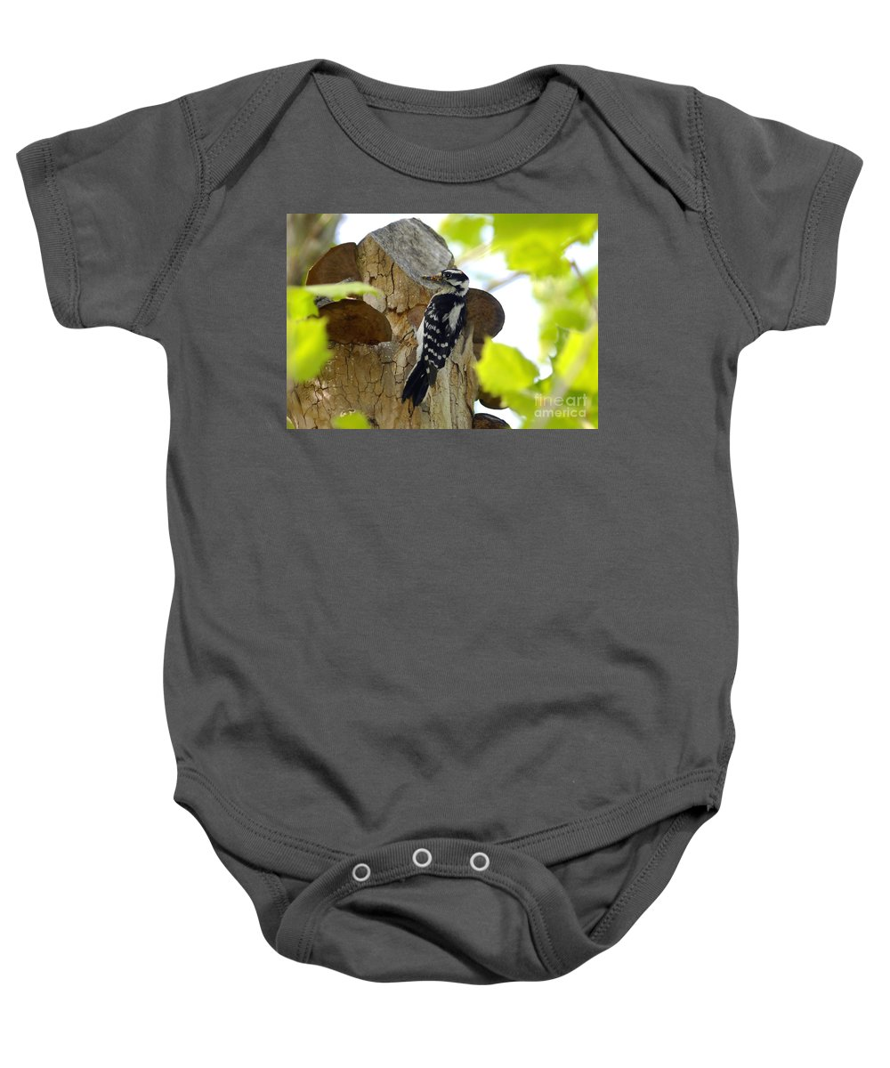 Downy Woodpecker Baby Onesie featuring the photograph Feeding Time by David Lee Thompson