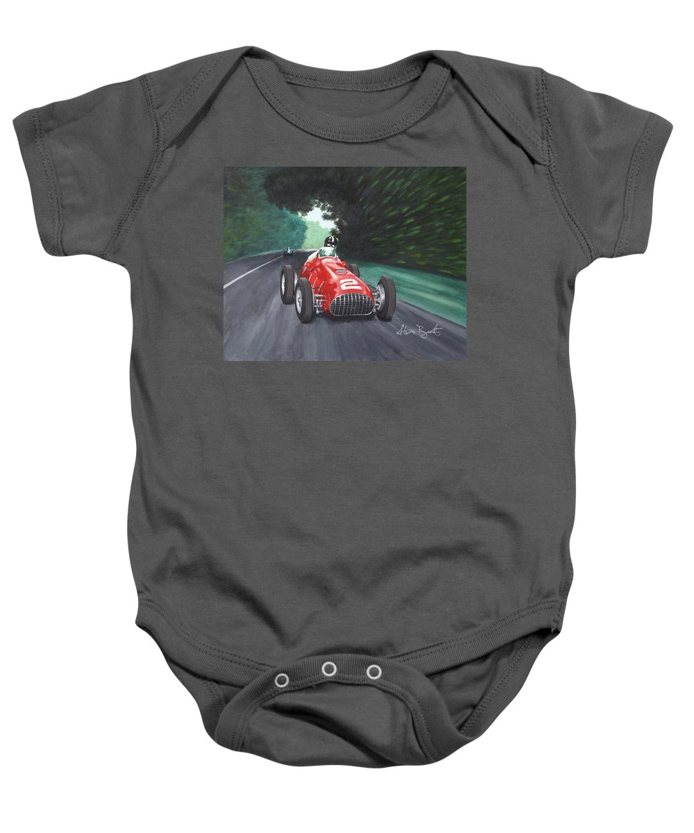 Ferrari Baby Onesie featuring the painting Ferrari 375 F1 by Steven Braatz