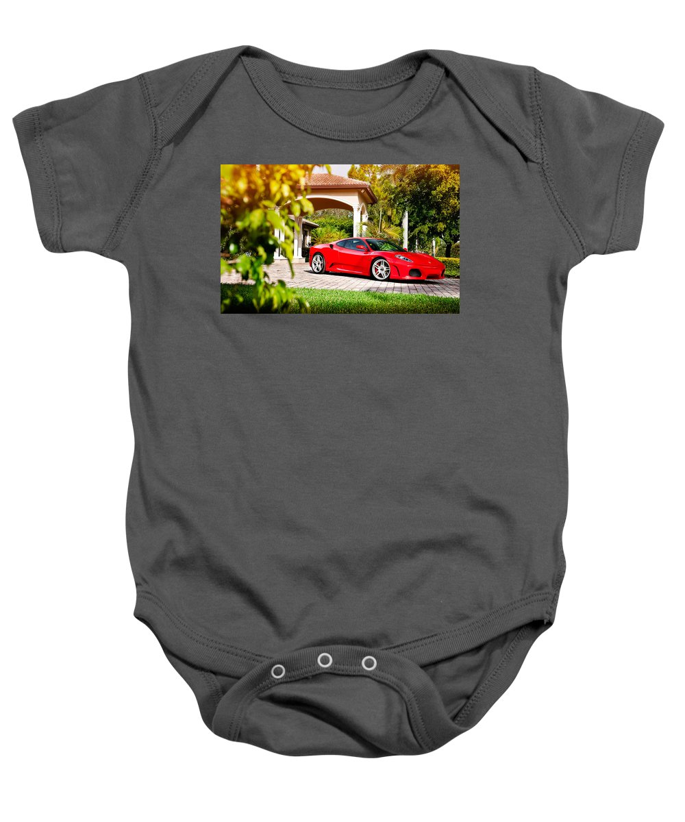 Baby Onesie featuring the digital art Ferrari F430 On Adv1 Wheels 2 by Alice Kent