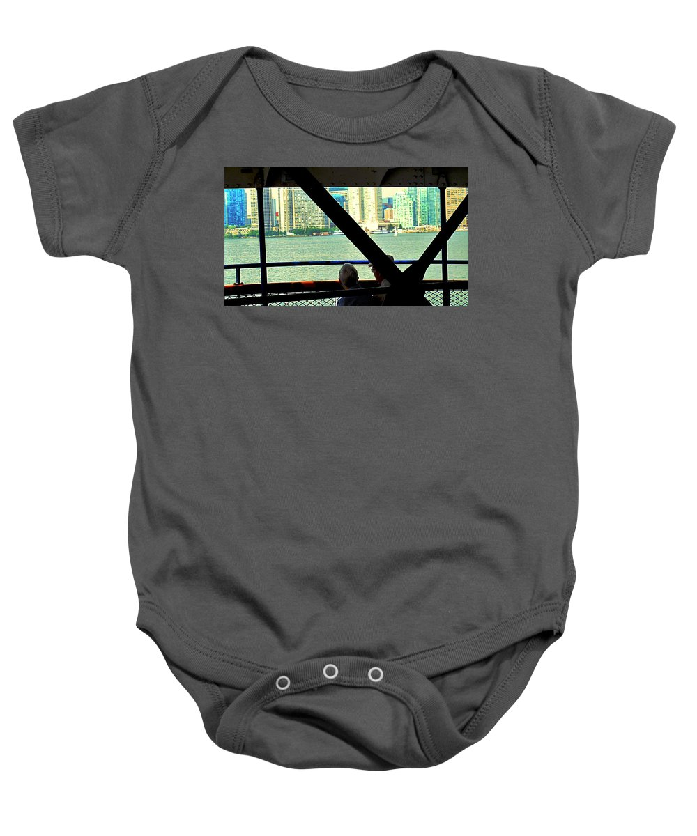 Ferry Baby Onesie featuring the photograph Ferry Across The Harbor by Ian MacDonald