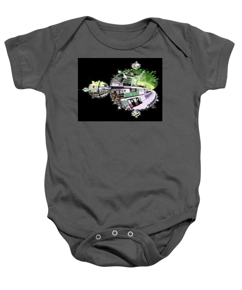 Seattle Baby Onesie featuring the digital art Ferry In Fractal by Tim Allen
