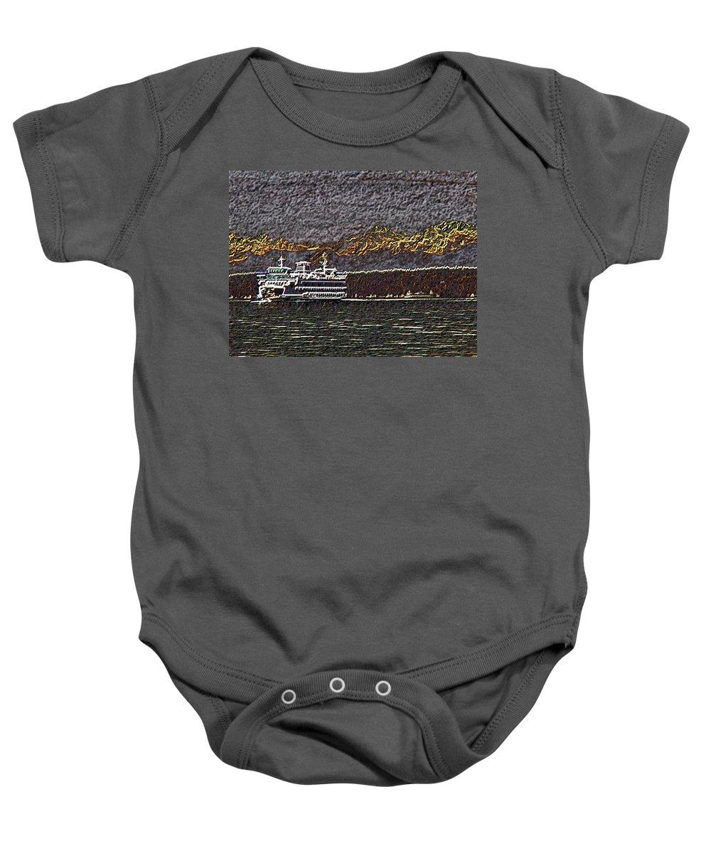 Ferry Baby Onesie featuring the digital art Ferry On Elliott Bay 3 by Tim Allen