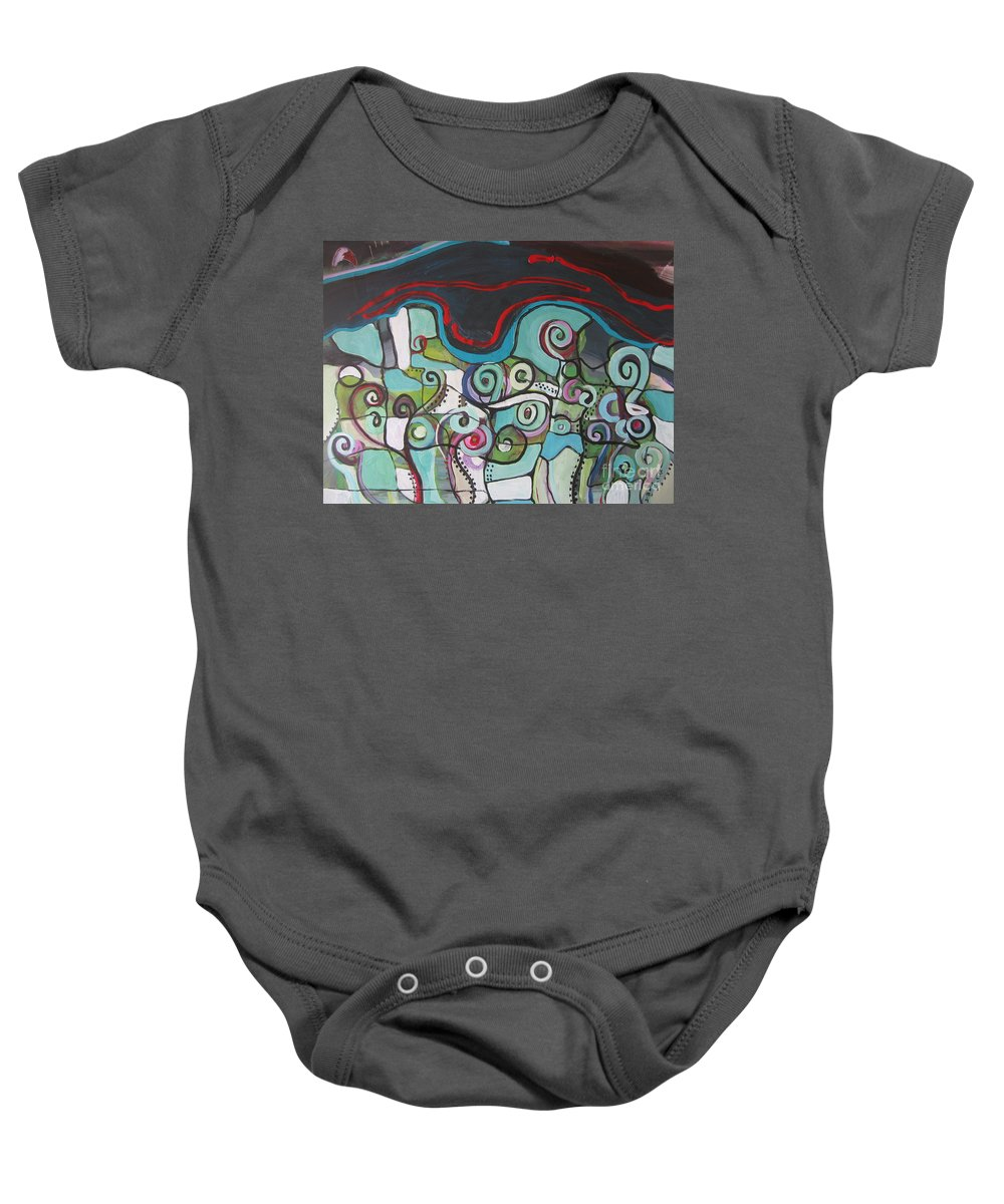 Fiddleheads Paintings Baby Onesie featuring the painting Fiddleheads 5 by Seon-Jeong Kim