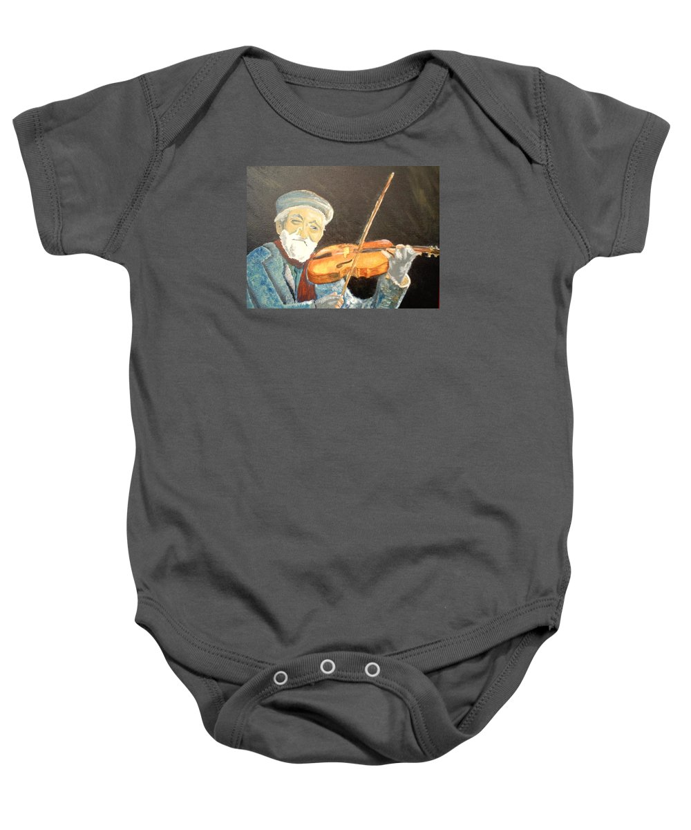 Hungry He Plays For His Supper Baby Onesie featuring the painting Fiddler Blue by J Bauer