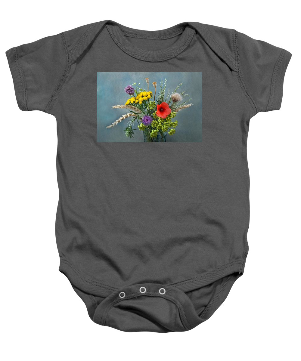 Field Baby Onesie featuring the photograph Field Flowers by Manfred Lutzius