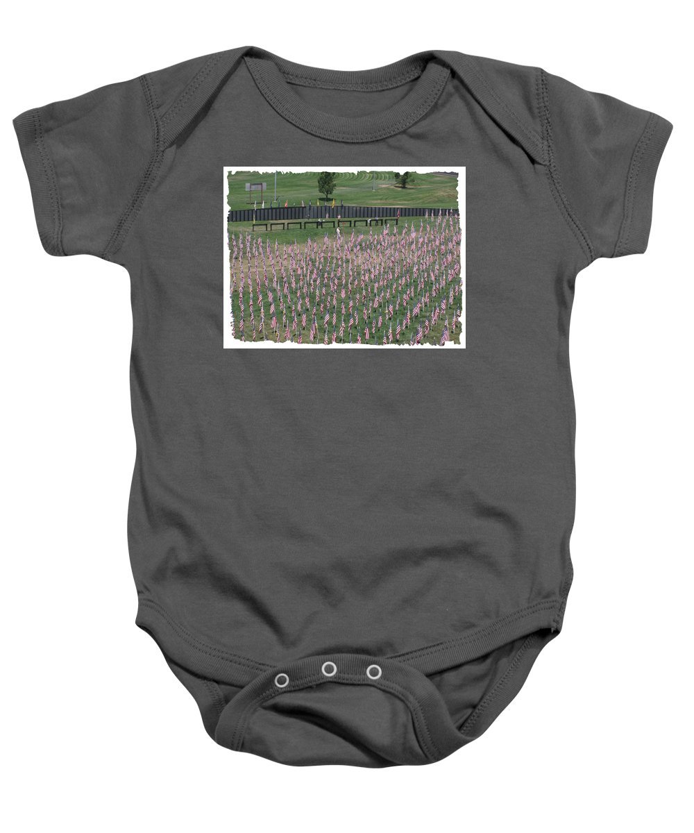 Cost Baby Onesie featuring the digital art Field Of Flags - Gotg Arial by Gary Baird