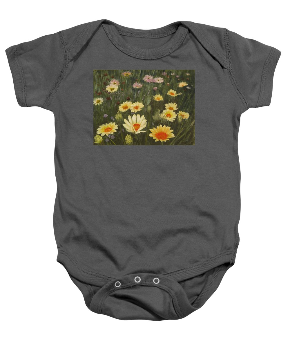 Flower Baby Onesie featuring the painting Field Of Flowers by Lea Novak