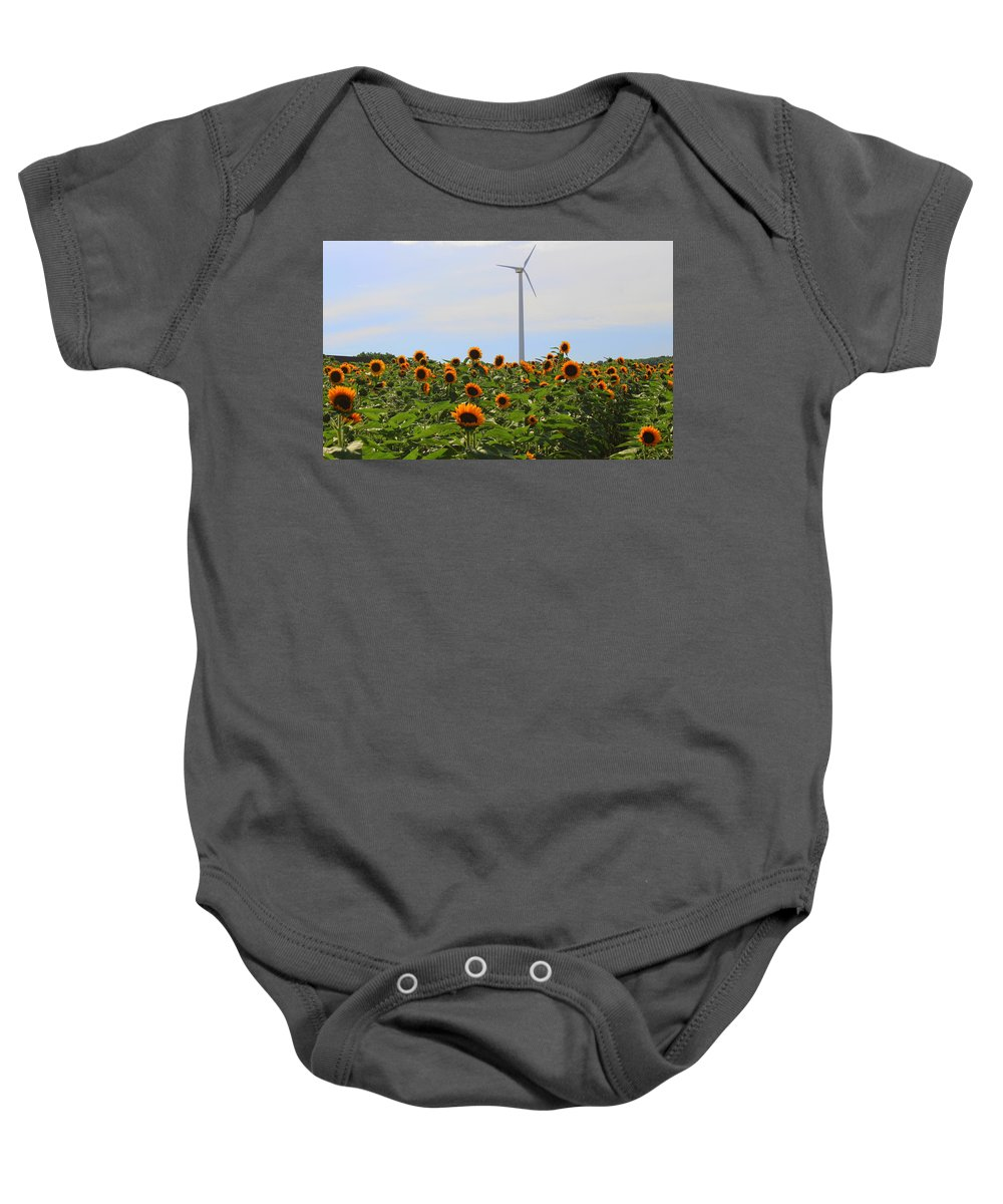Shining Baby Onesie featuring the photograph Where The Sunflowers Shine by Dora Sofia Caputo Photographic Design and Fine Art
