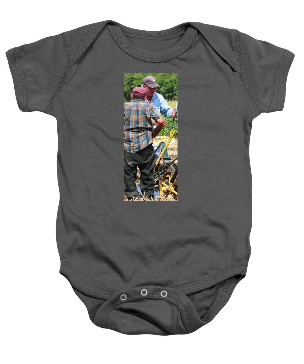 Plow Baby Onesie featuring the photograph Fierce Competitors by Ian MacDonald