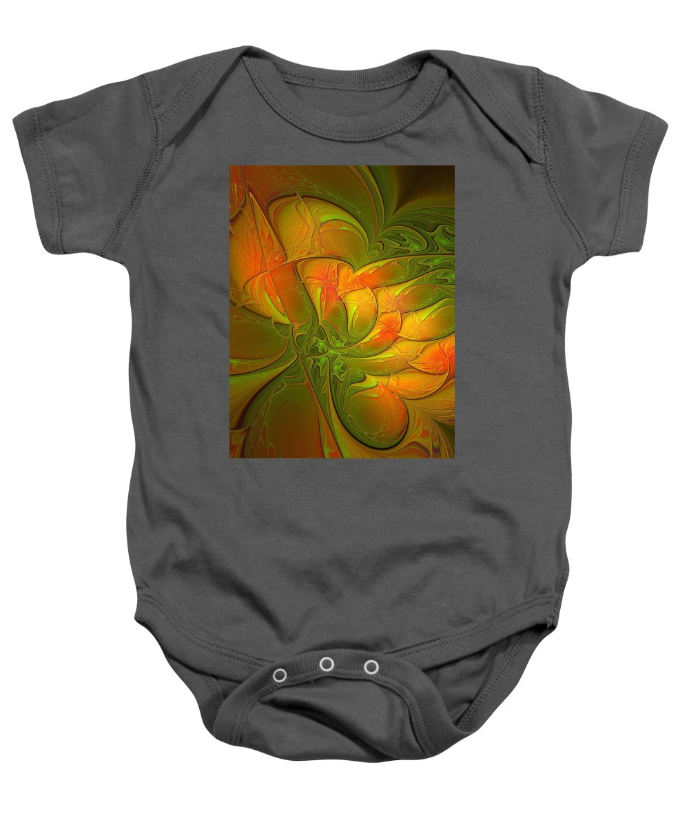 Digital Art Baby Onesie featuring the digital art Fiery Glow by Amanda Moore